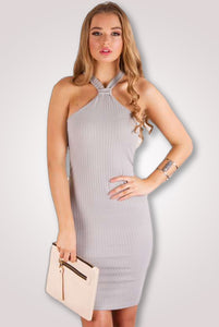 Racer Neck Rib Grey Dress - Ann Et Craig