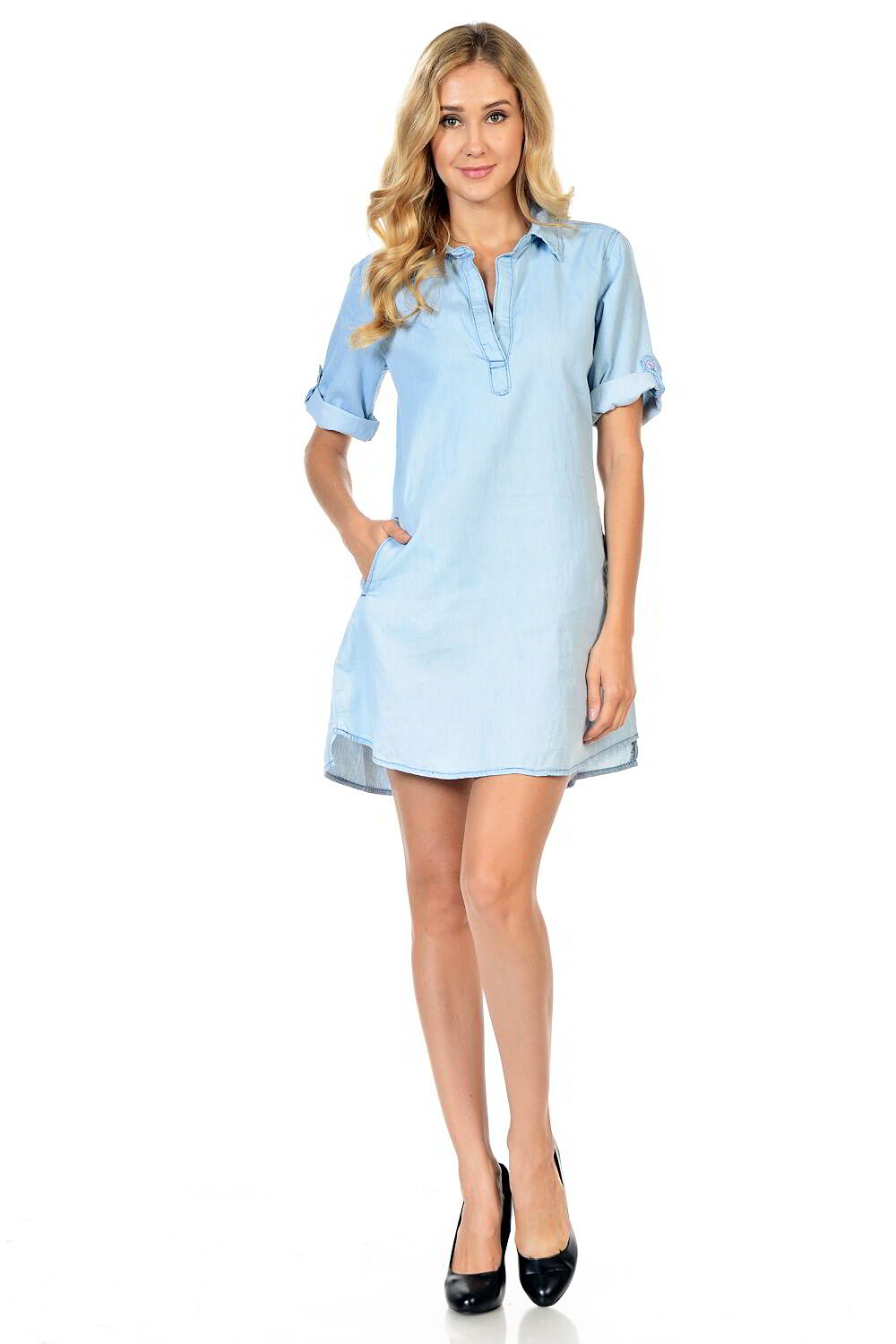 Sweet Look Women's Denim Blouse - Style N191 - Ann Et Craig