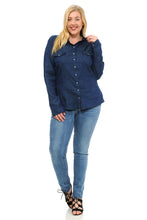 Load image into Gallery viewer, Sweet Look Women's Denim Blouse - Plus Size - Style K801B - Ann Et Craig