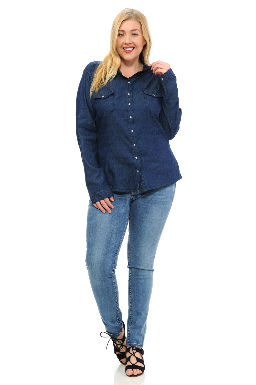 Sweet Look Women's Denim Blouse - Plus Size - Style K801B - Ann Et Craig