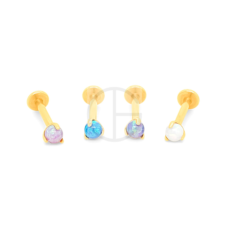 16G Gold Claw Set Opal Labret