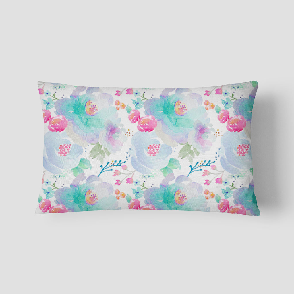 Blue Blooms Lumbar Pillow