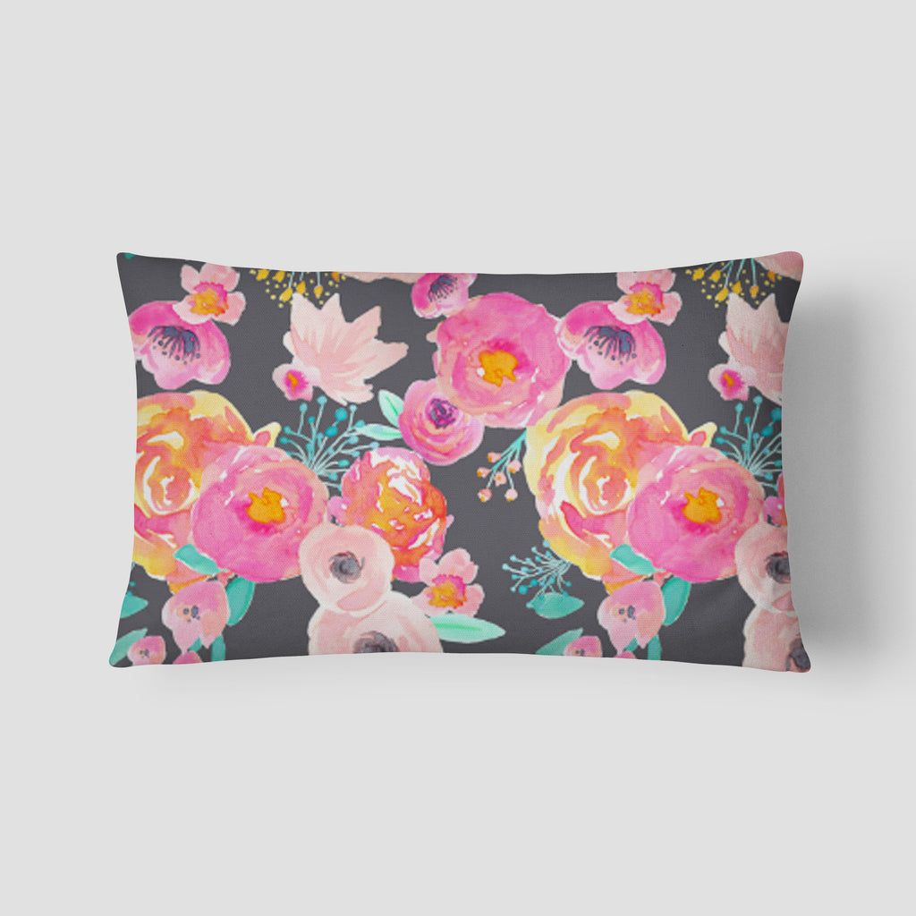 Blush Grey Floral Lumbar Pillow