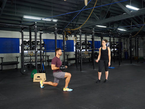 Walking lunge with sledgehammer slams no tire needed