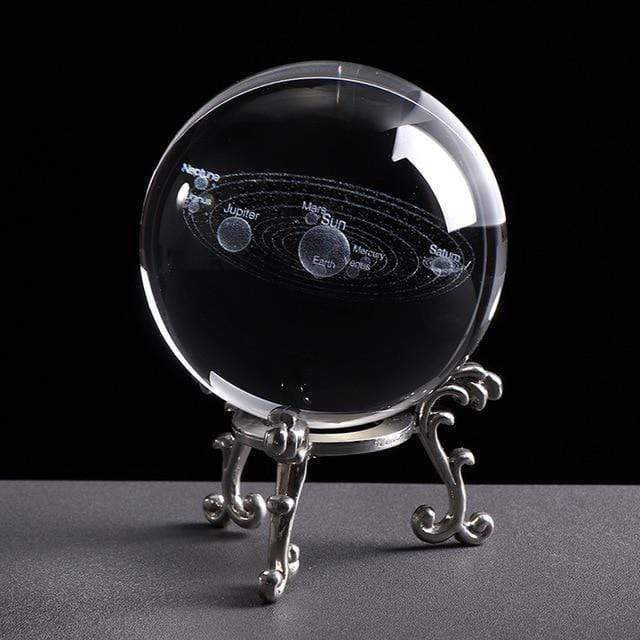 6CM Laser Engraved Solar System Ball 3D Miniature Planets Model Sphere Glass Globe Ornament Home Decor Gift for Astrophile