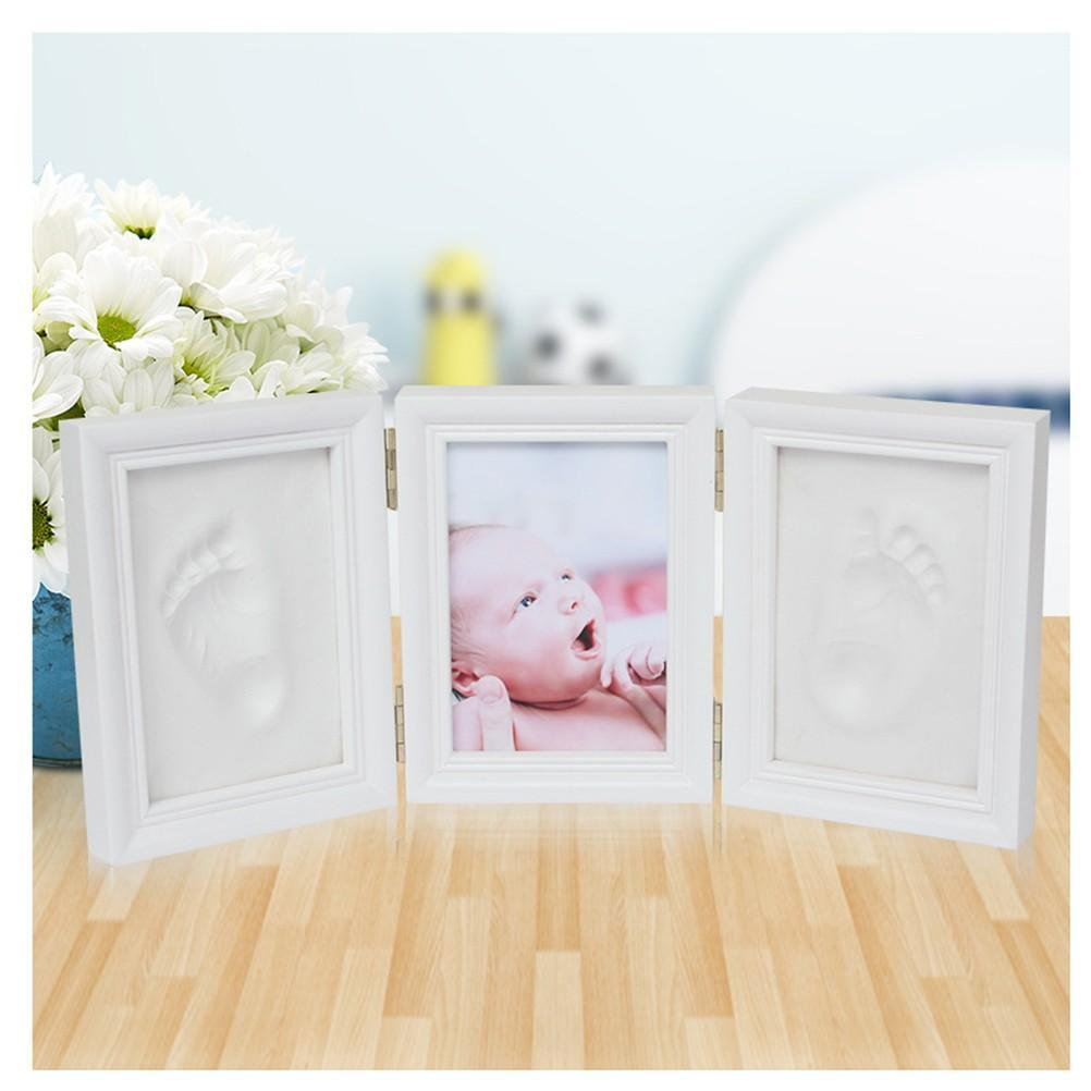 Baby Hand and Foot Print Frame Kit – Soft Safe Imprint Clay for Moulding with Premium Wood Frame Ultimate Newborn Baby Gift