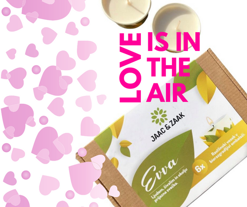Paket 6 prijaznih EVVA svečk - vonj LOVE IS IN THE AIR