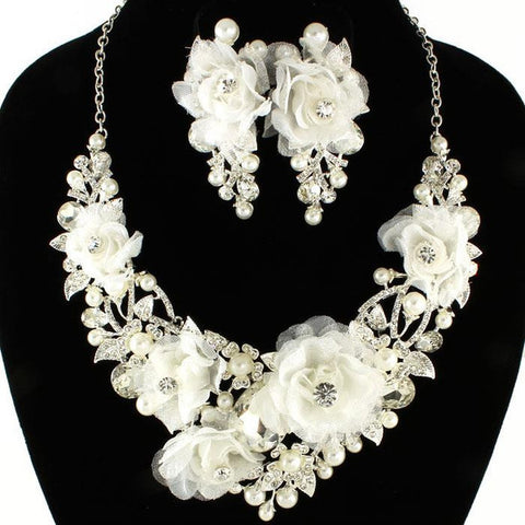 Swarovski Crystal White Rose Necklace Collection