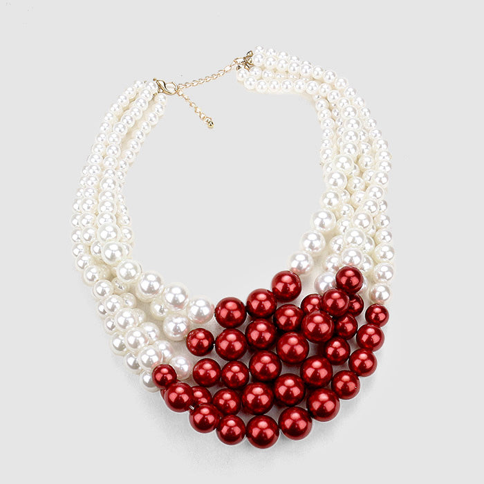 Beautiful GO RED Multi-strand pearl necklace