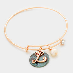 Beautiful  'L' Monogram Letter & Metal Disc Charm bracelet