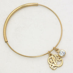 Beautiful 'L' Monogram Bangle Bracelet