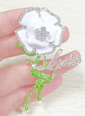 "LINKS ""Signature"" White Rose Crystal Pin ""High End"""