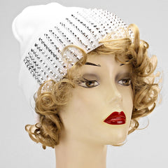 White and Silver Bling Fall Hat