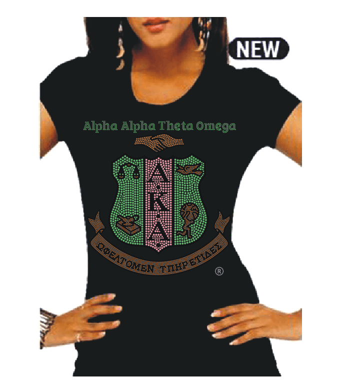 Beautiful AATO Chapter Pink & Green Custom Rhinestone Shirts