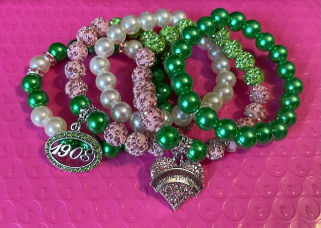 Beautiful AKA Pink and Green Stacked Bracelets