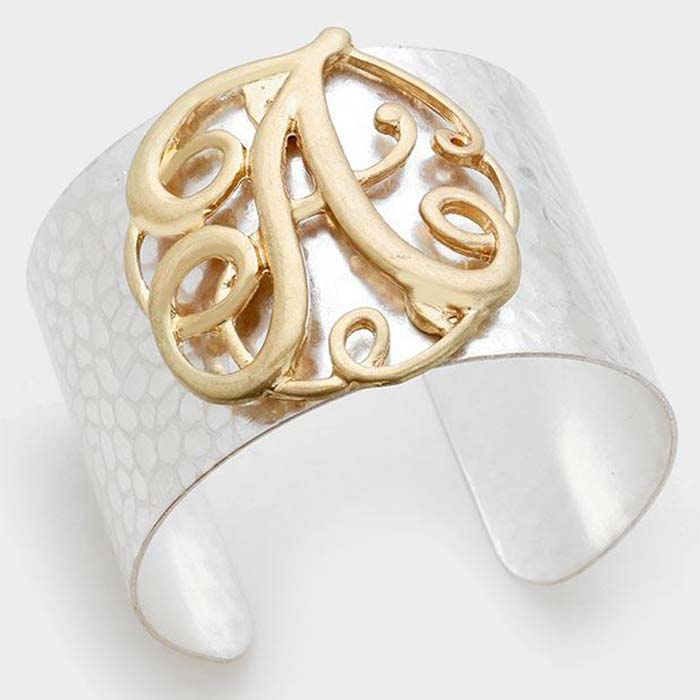 Beautiful  'A' MONOGRAM METAL CUFF BRACELET.