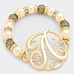 "Beautiful ""A"" Monogram Charm Pearl & Filigree Stretch Bracelet in Antique Gold"