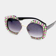 Beautiful Crystal Pentagon Sunglasses in Pink & Green Austrian Crystals
