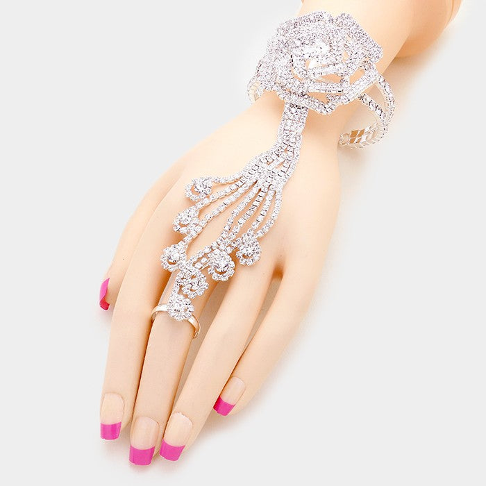 Beautiful Crystal Rose Hand Chain Bracelet