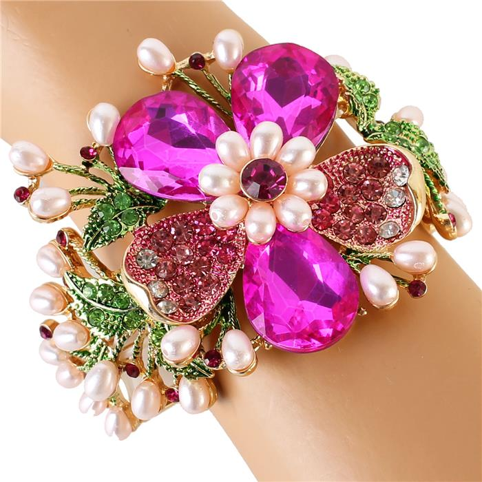 "Beautiful PINK & GREEN Crystal Rose Pearl ""Casual Dressy"" Bracelet for AKA"