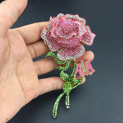 Beautiful AKA Pink Rose Swarovski Brooch (High End)
