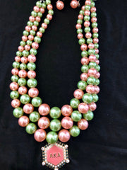 Beautiful AKA Signature Pink & Green Pearl Necklace