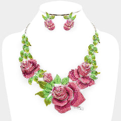 Beautiful Swarovski Crystal Pave Rose Flower Accented Necklace (Pink & Green)