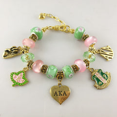 "Beautiful AKA Pink & Green ""Pandora Style"" Bracelet"