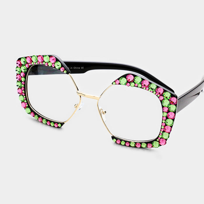 Copy of Beautiful Crystal Pentagon Sunglasses in Pink & Green Austrian Crystals