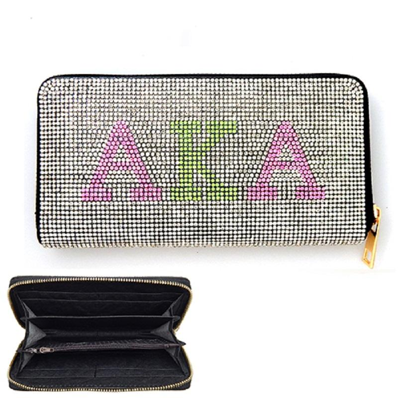 Beautiful AKA Pink & Green Rhinestone Wallet