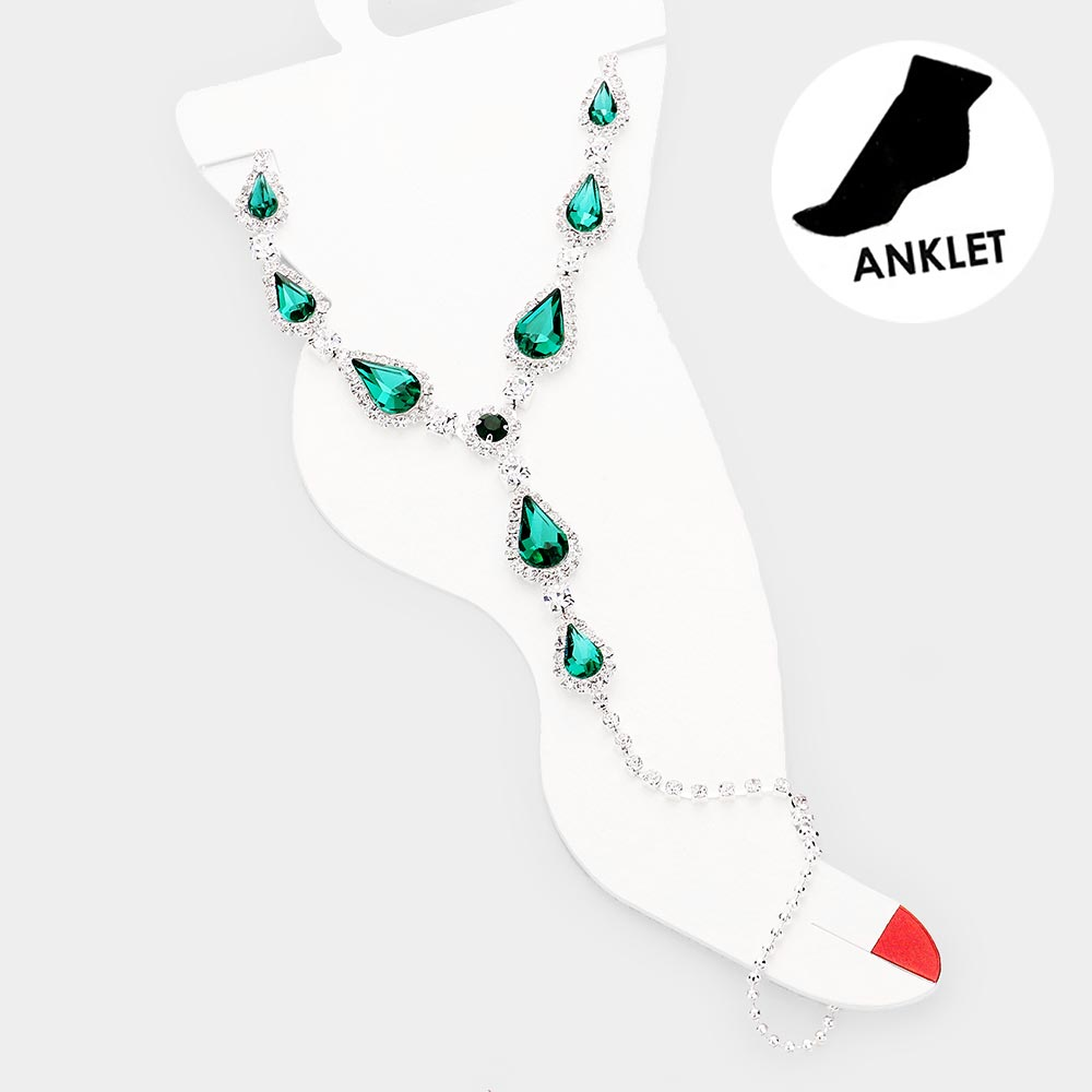 Beautiful Emerald Crystal Teardrop Accented Toe Ring Anklet (New)