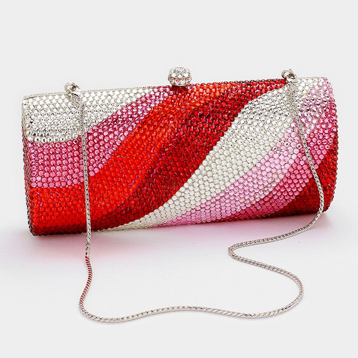Beautiful Red & Clear Zebra Pattern Crystal Evening Clutch!! (High End, NEW)