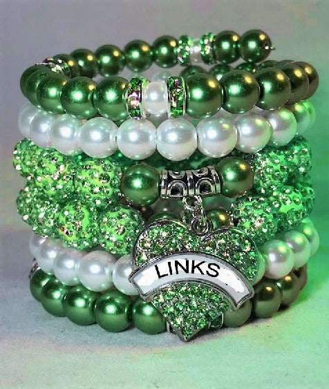 Beautiful Emerald Pearl LINKS Stacked Bracelets (Back in Stock)