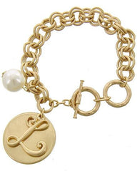 "Beautiful ""L"" Medallion Bracelet"