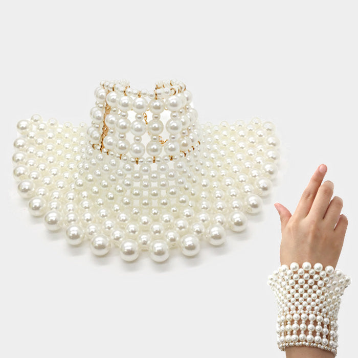 Beautiful Designer Pearl Wide Bracelet