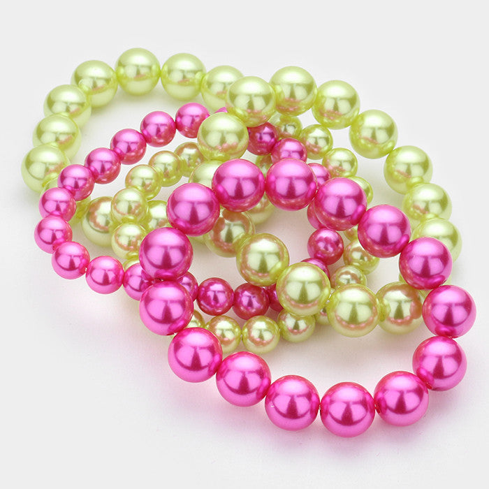 Beautiful Pink & Green Stack Pearl Bracelets ( 5 SET)