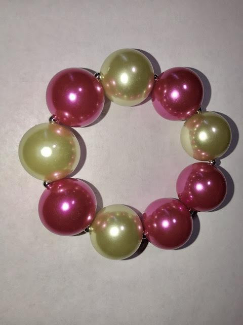 Beautiful Pink & Green Pearl Bracelet