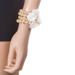 Beautiful White Rose Pearl Bracelet
