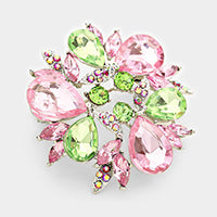Beautiful Pink & Green Crystal Teardrop Wreath Brooch