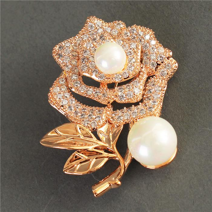 Beautiful Crystal Rose with Pearl Brooch Pin