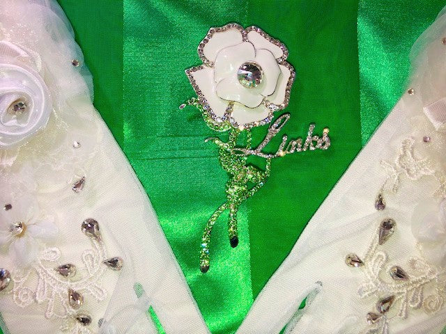 "Beautiful LINKS White Rose of Elegance Swarovski Crystal Brooch ""High End""  (NEW)"