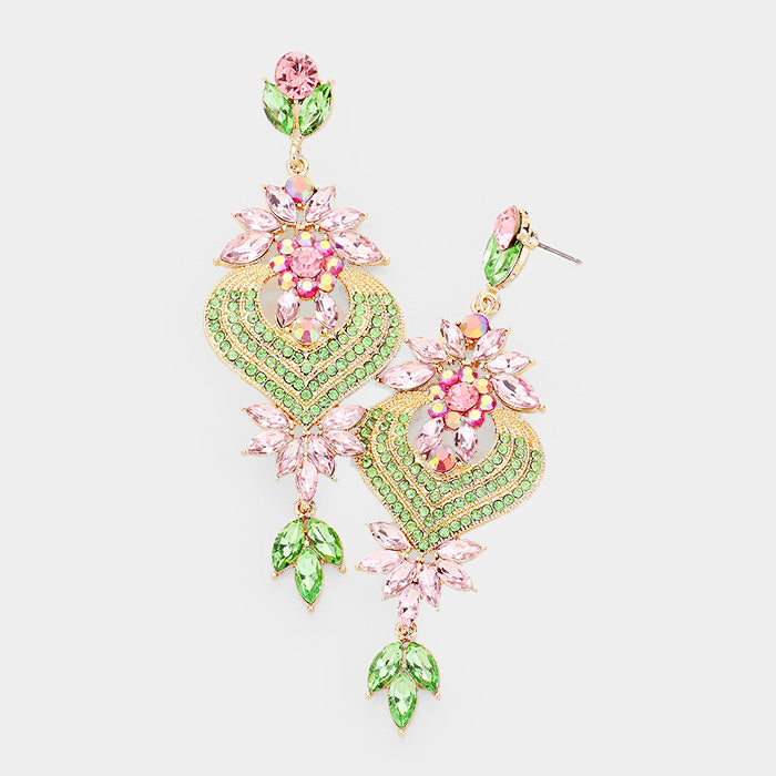 Beautiful Floral Vine Teardrop Crystal Earrings, New 2019