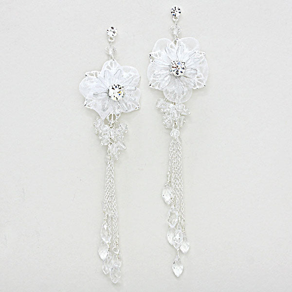 Beautiful Crystal White Rose Fringe Earrings.  PERFECT GIFT