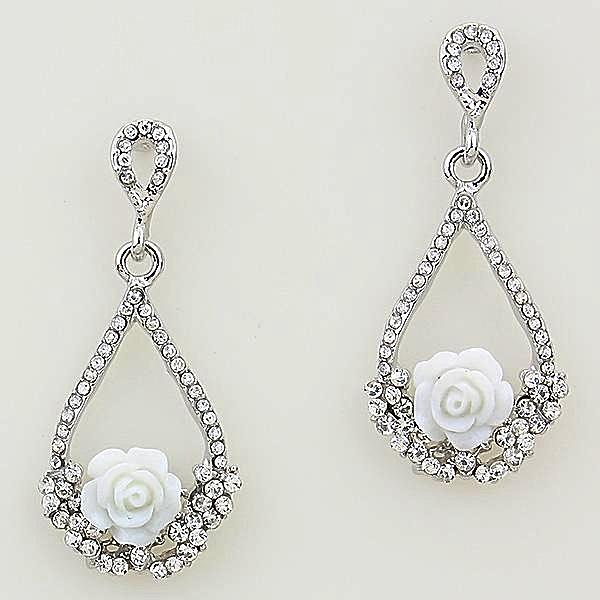 Beautiful White Rose Trapeze Crystal Earrings