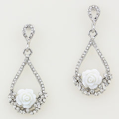 Beautiful White Rose Trapeze Earrings