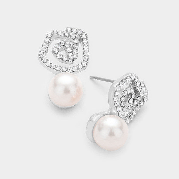 Beautiful Rose Pearl Crystal Earrings
