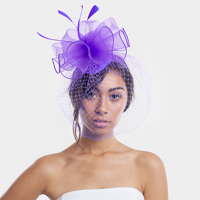 Beautiful High End Feather With Flowers Veil Fascinators