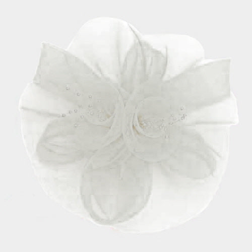 Beautiful White Rose Feather Mesh Fascinator