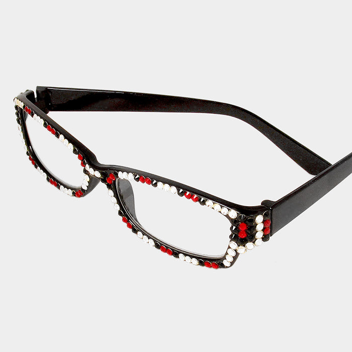 Beautiful Emerald, Red & White & Pink & Green Crystal Reading Glasses for GREEKS