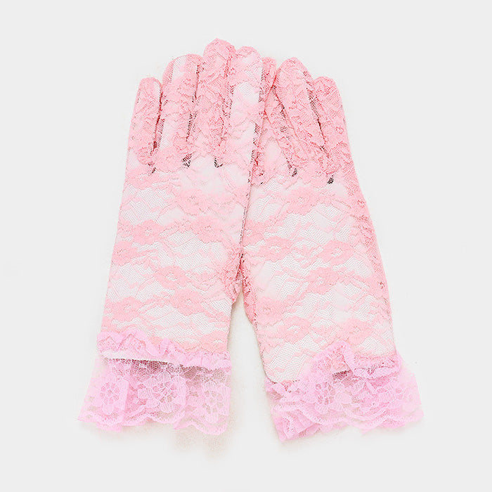 Beautiful White Rose Floral Lace Gloves